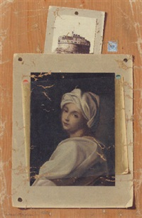 trompe l'oeil showing guido reni's portrait of a lady by francesco alegiani
