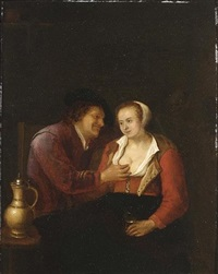 an allegory of vanity with an amorous couple in an inn by gerrit lundens