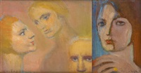visages (2 works) by emile fabry