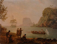 a tropical coastline with sailors hailing traders and natives from a rowing boat by pierre ozanne
