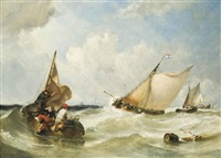 fishing boats off briel by william simson