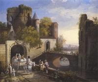 vue de l'entrée d'une ville fortifiée près d'une rivière by louis gadbois