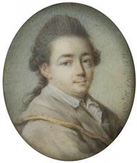 portrait d'homme (artiste ?) en manteau beige à bord doré, col de la chemise ouverte, en buste de trois-quarts à droite by antoine vestier
