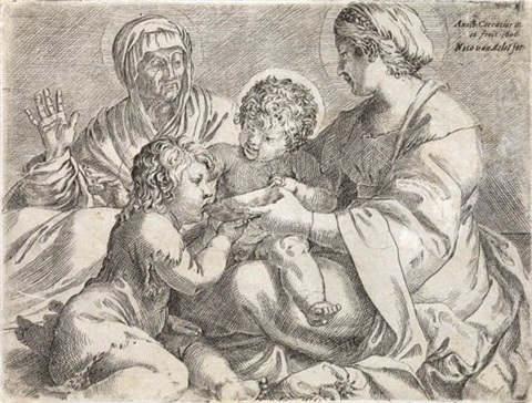 madonna and child with saints elizabeth and john the baptist by annibale carracci