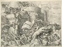 die erstürmung von cartagena. die truppen von scipio africanus erobern die spanische stadt (after giulio romano) by georg pencz