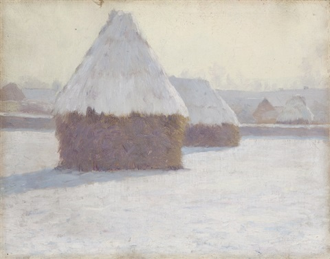 winter haystacks at crecy en brie france by guy rose