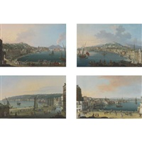 view of chiaia, naples, looking towards vesuvius (+3 others; 4 works) by pietro antoniani