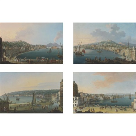 view of chiaia naples looking towards vesuvius 3 others 4 works by pietro antoniani