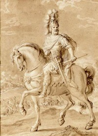 a general on horseback in a landscape by pierre monier