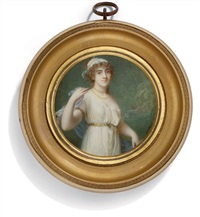 a young lady in classicising white dress worn loose with a gold belt by jean antoine laurent