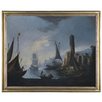 a harbour scene with figures disembarking their boats by pietro antoniani
