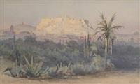 vue de l'acropole sur fond de palmiers by angelos giallina