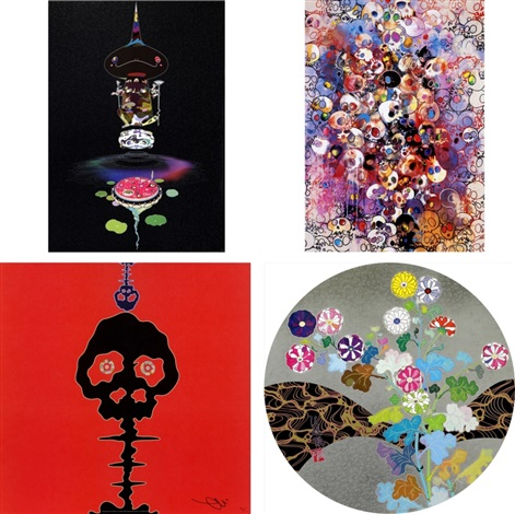 reversed double helix black head brown body ive left my love far behind their smell every memento time bokan red architect of the heart set of 4 by takashi murakami