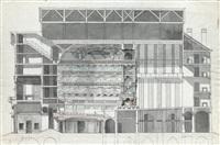 ensemble de quatre dessins pour le projet de théâtre de monsieur ou théâtre feydeau: coupe longitudinale, plan de rez-de-chaussée et du premier étage (4 works) by jean-augustin renard