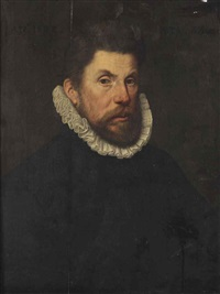 portrait of a gentleman, half-length, in a black suit with a white ruff by willem key