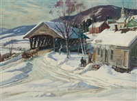bridge at barnet, new hampshire by aldro thompson hibbard