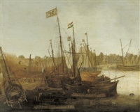 a shipyard with figures building and restoring sailing vessels by abraham de verwer