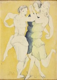 três mulheres dançando by josé de almada negreiros
