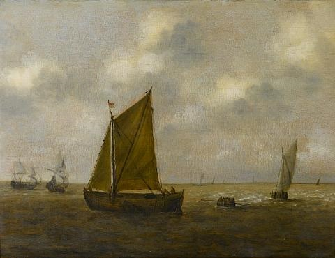 dutch shipping in calm water by claes claesz wou