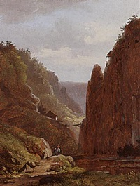 travellers in a mountainous landscape by arnoldus johannes eymer