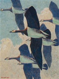 barnacle geese in flight by peter markham scott
