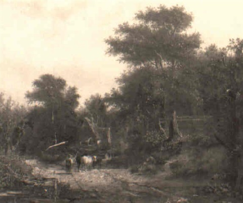 a drover and cattle in a wooded landscape by robert ladbrooke