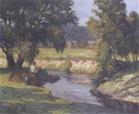 boys fishing on a summer's day by frank edward lloyd