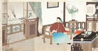 chiński admirał ding ruchang popełniający samobójstwo (from wojna japońsko - chińska) (triptych) by toshikata