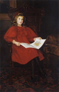in wonderland, portrait of margery merrick in a red dress, reading a book, in an interior by emily m. merrick