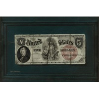 five dollar bill on a blue molded panel by nicholas alden brooks