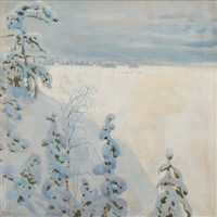 winter landscape by akseli valdemar gallen-kallela