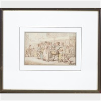 cinder sifters; lovers caught in the act; at the market (3 works) by thomas rowlandson