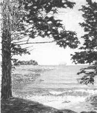 sherman's pond at camden harbor by george w.k. newbold
