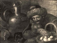 an old peasant holding a basket with eggs, a dog and milkjug beyond by cornelis jacobsz. delff