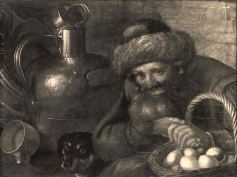 an old peasant holding a basket with eggs a dog and milkjug beyond by cornelis jacobsz delff
