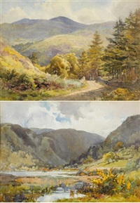 above the lake, glendalough (+the lower lake, glendalough, county wicklow; pair) by gladys wynne