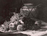 still life of grapes, peaches, a vase, and a glass by boomgan