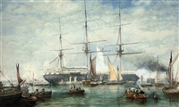 an emigrant ship preparing to depart, with onlookers to see her off by george henry andrews
