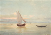 boats at sunset by eugen (cean) voinescu