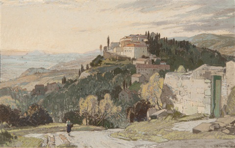 fiesole and the hills of tuscany evening by leonard russel squirrell
