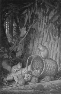 the cornucopia. genre scene with squirrels by frederick s. batcheller