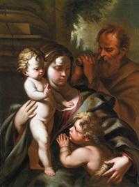 die heilige familie mit dem johannesknaben - sacra famiglia con il san giovannino by nicola vaccaro