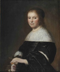portrait of a lady, half-length, in a black dress with a white lace collar and pearl jewelry, holding a pink rose by johannes cornelisz verspronck