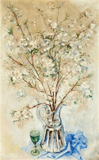 blossoming branches in a glass vase by dirk kruizinga