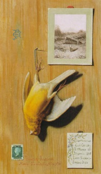 trompe l'oeil with canary and stamp by francesco alegiani