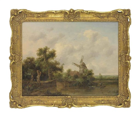 a river landscape with a man punting a windmill beyond by richard h hilder
