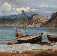 fishing boats on the beach at capri by august fischer