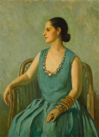 helena rubinstein in a green dress by edward barnard lintott