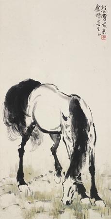 饮马图 horse by xu beihong