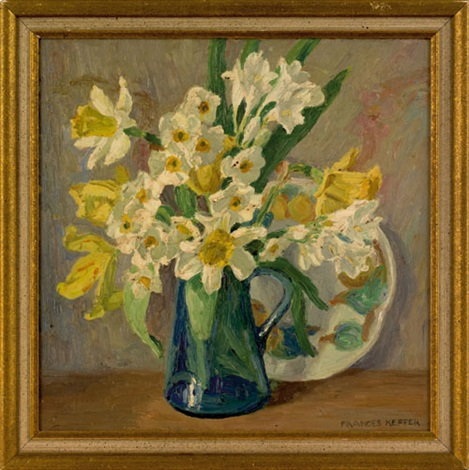 still life of daffodils in a pitcher by frances keffer